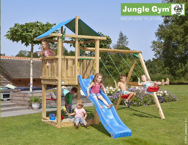 Afbeelding van Jungle Gym houten schommel De Hut met blauwe glijbaan from DreamLand