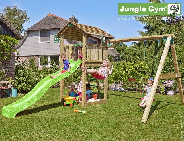 Image pour Jungle Gym portique en bois Cottage avec toboggan vert à partir de DreamLand