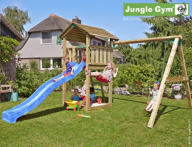 Afbeelding van Jungle Gym houten schommel Cottage met blauwe glijbaan from DreamLand