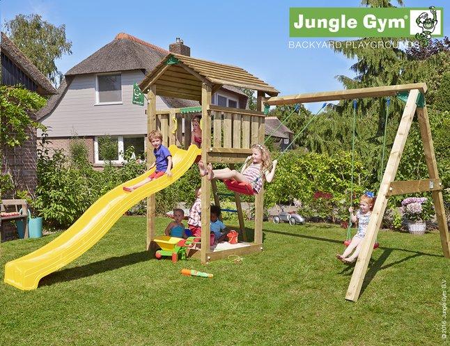 Afbeelding van Jungle Gym houten schommel Cottage met gele glijbaan from DreamLand