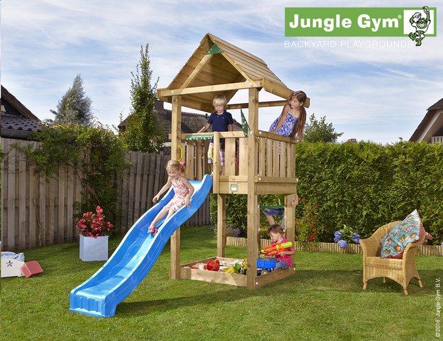 Afbeelding van Jungle Gym houten speeltoren House met blauwe glijbaan from DreamLand