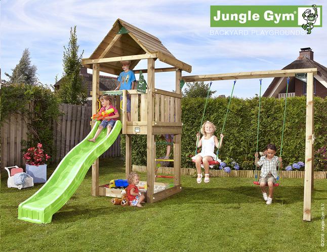 Image pour Jungle Gym portique en bois House avec toboggan vert à partir de DreamLand