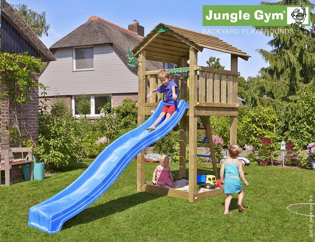 Afbeelding van Jungle Gym houten speeltoren Cottage met blauwe glijbaan from DreamLand