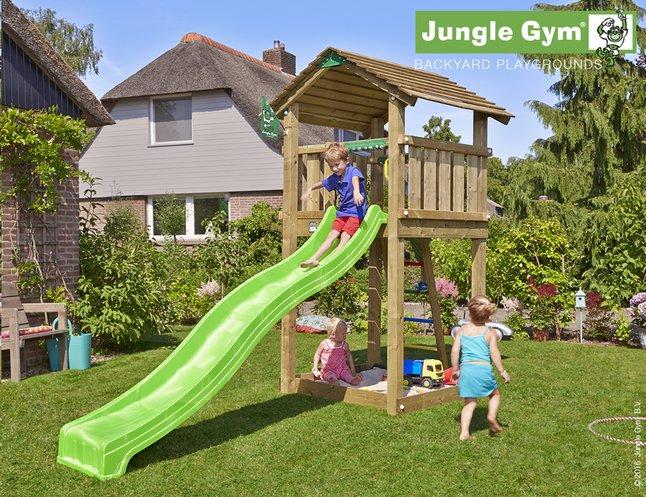Afbeelding van Jungle Gym houten speeltoren Cottage met groene glijbaan from DreamLand
