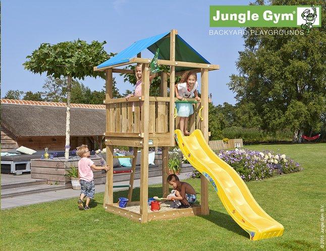 Afbeelding van Jungle Gym houten speeltoren De Hut met gele glijbaan from DreamLand