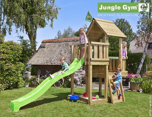 Afbeelding van Jungle Gym houten speeltoren Cubby met groene glijbaan from DreamLand