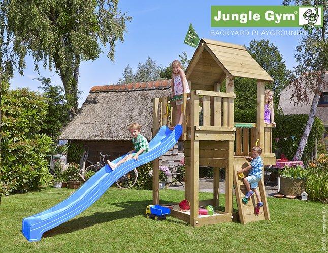 Afbeelding van Jungle Gym houten speeltoren Cubby met blauwe glijbaan from DreamLand