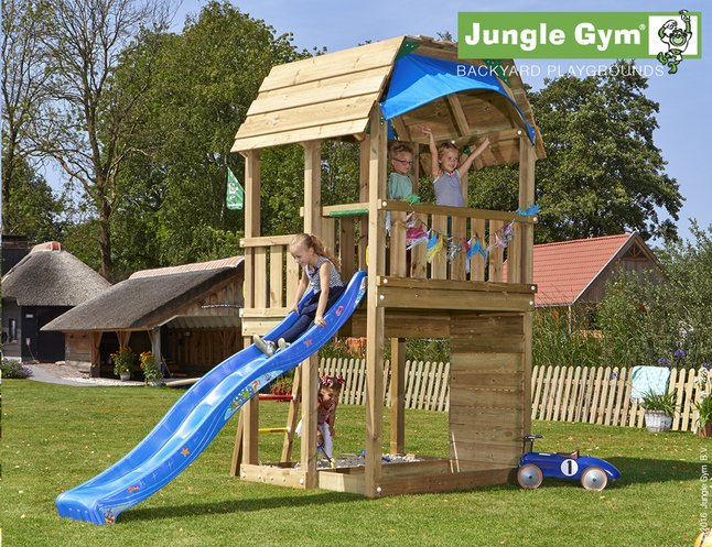 Image pour Jungle Gym tour de jeu en bois Barn avec toboggan bleu à partir de DreamLand