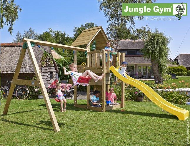 Afbeelding van Jungle Gym houten schommel Cubby met gele glijbaan from DreamLand