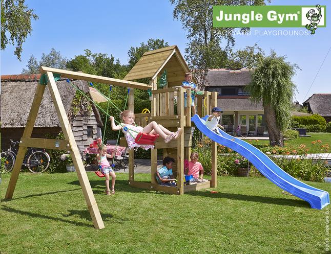 Afbeelding van Jungle Gym houten schommel Cubby met blauwe glijbaan from DreamLand