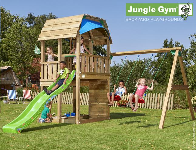 Afbeelding van Jungle Gym houten schommel Barn met groene glijbaan from DreamLand