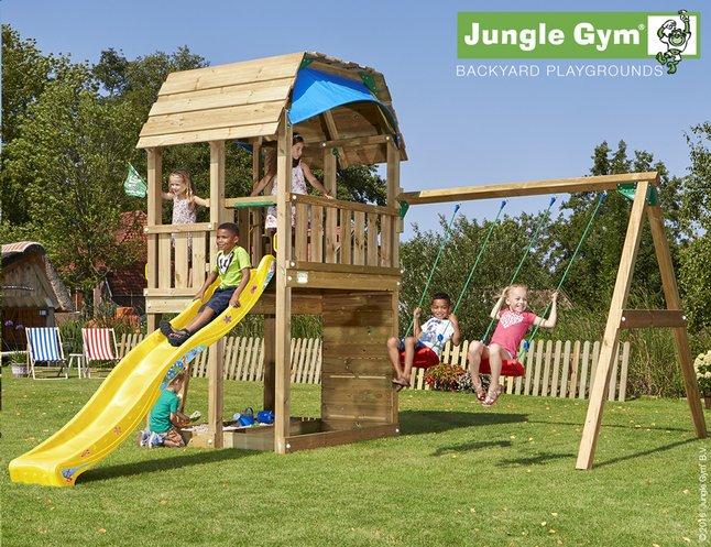 Image pour Jungle Gym portique en bois Barn avec toboggan jaune à partir de DreamLand