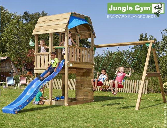 Image pour Jungle Gym portique en bois Barn avec toboggan bleu à partir de DreamLand