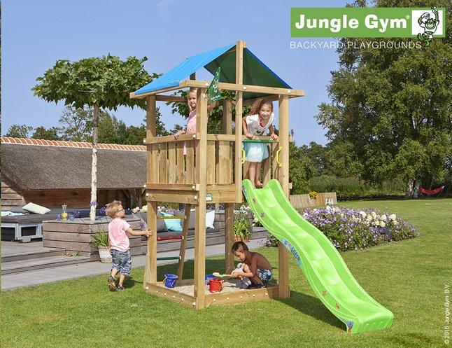 Afbeelding van Jungle Gym houten speeltoren De Hut met groene glijbaan from DreamLand
