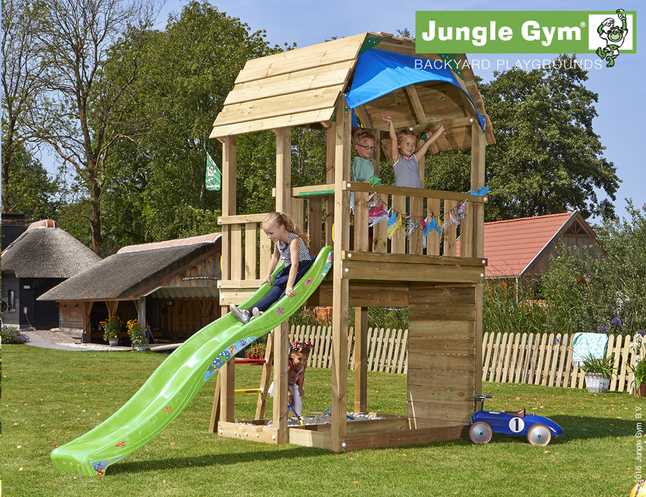 Afbeelding van Jungle Gym Houten speeltoren Barn met groene glijbaan from DreamLand