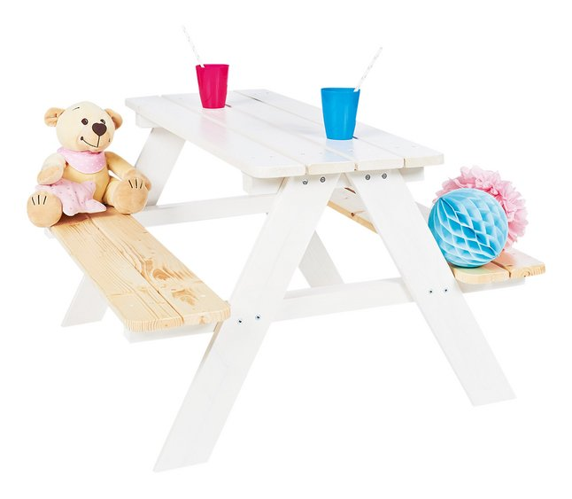 Pinolino table de pique-nique pour enfants Nicki blanc