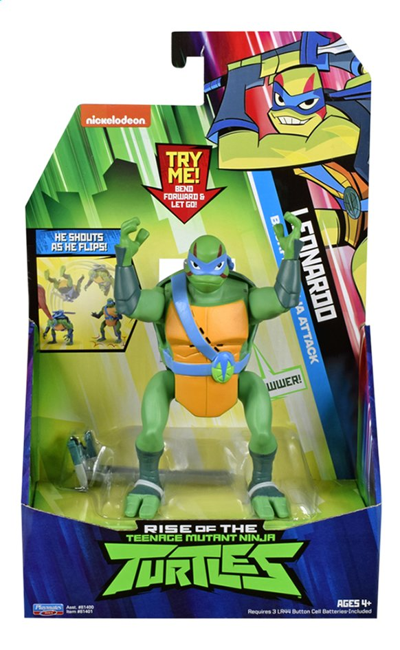Afbeelding van Rise of the Teenage Mutant Ninja Turtles actiefiguur Back Flip Ninja Attack Leonardo from DreamLand