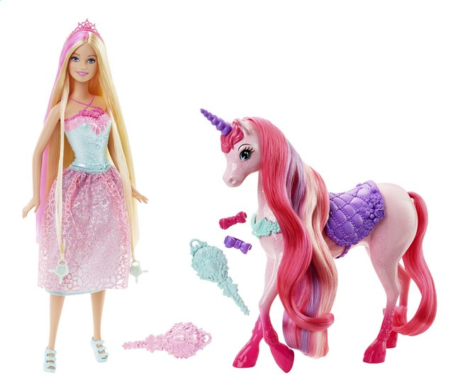 Afbeelding van Barbie speelset Endless hair Kingdom prinses en eenhoorn from DreamLand