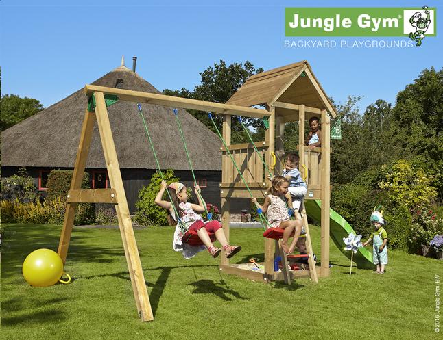 Afbeelding van Jungle Gym schommel met speeltoren Club en groene glijbaan from DreamLand