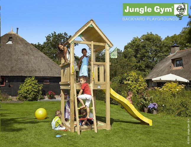Afbeelding van Jungle Gym houten speeltoren Club met gele glijbaan from DreamLand