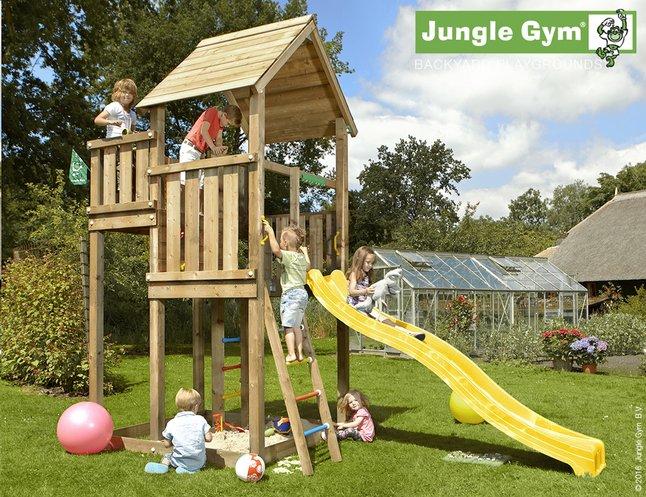 Afbeelding van Jungle Gym houten speeltoren Palace met gele glijbaan from DreamLand