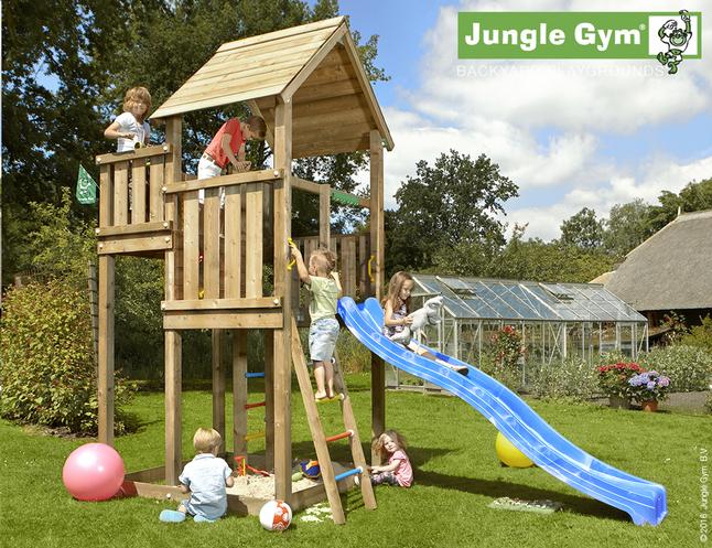 Afbeelding van Jungle Gym houten speeltoren Palace met blauwe glijbaan from DreamLand