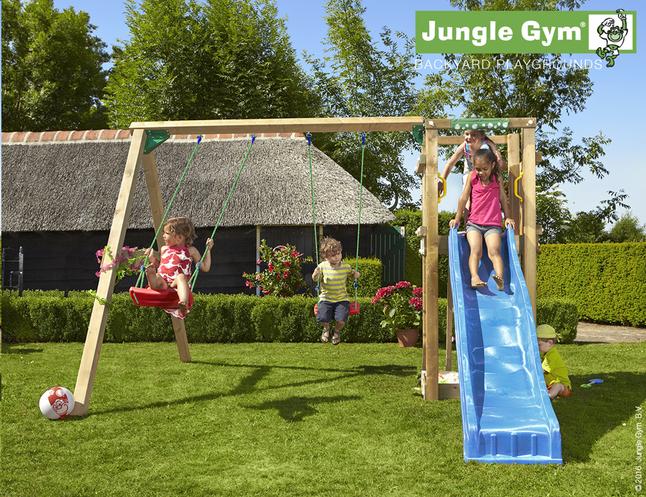Afbeelding van Jungle Gym schommel met speeltoren Tower en blauwe glijbaan from DreamLand