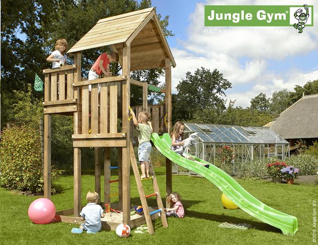 Afbeelding van Jungle Gym houten speeltoren Palace met groene glijbaan from DreamLand