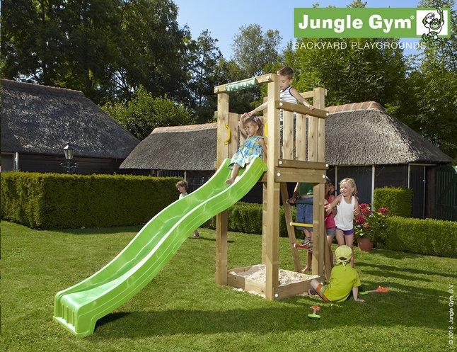 Afbeelding van Jungle Gym houten speeltoren Tower met groene glijbaan from DreamLand
