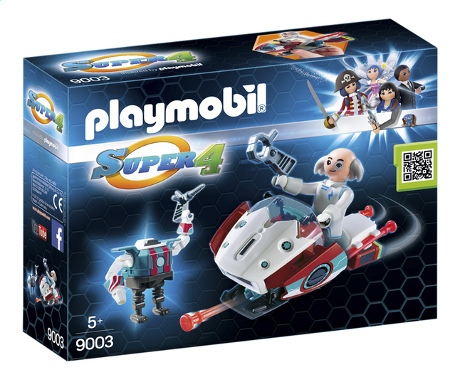 Afbeelding van Playmobil Super 4 9003 Skyjet met Dr. X & robot from DreamLand