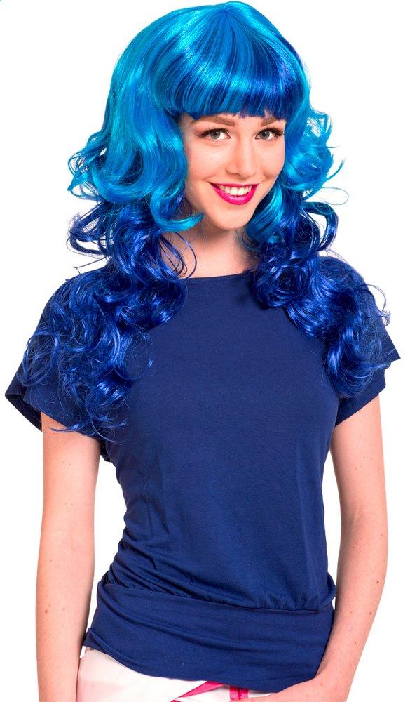 Afbeelding van Pruik Curly blauw from DreamLand