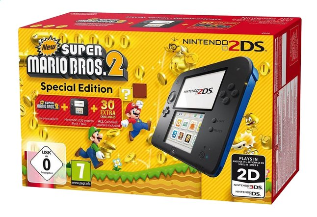 Afbeelding van Nintendo 2DS console zwart/blauw + New Super Mario Bros. 2 from DreamLand