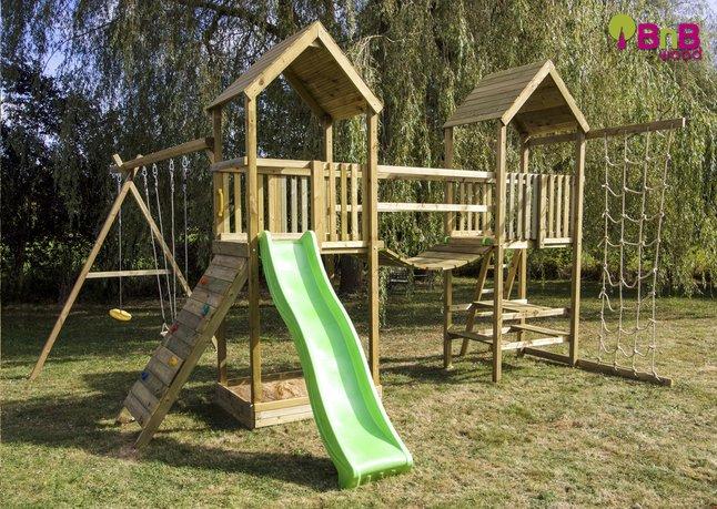bnb wood ensemble portique complet nieuwpoort avec toboggan vert pomme dreamland. Black Bedroom Furniture Sets. Home Design Ideas
