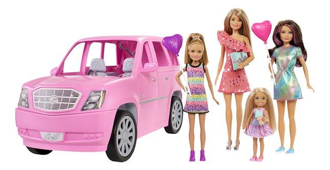 Barbie speelset Limo + 4 poppen