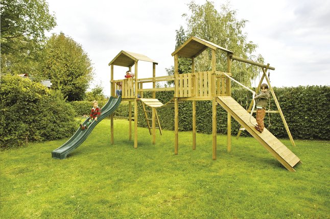 bnb wood ensemble portique complet nieuwpoort avec toboggan vert dreamland. Black Bedroom Furniture Sets. Home Design Ideas