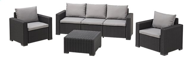 Afbeelding van Allibert Loungeset met driezit California grafietgrijs cool grey from DreamLand