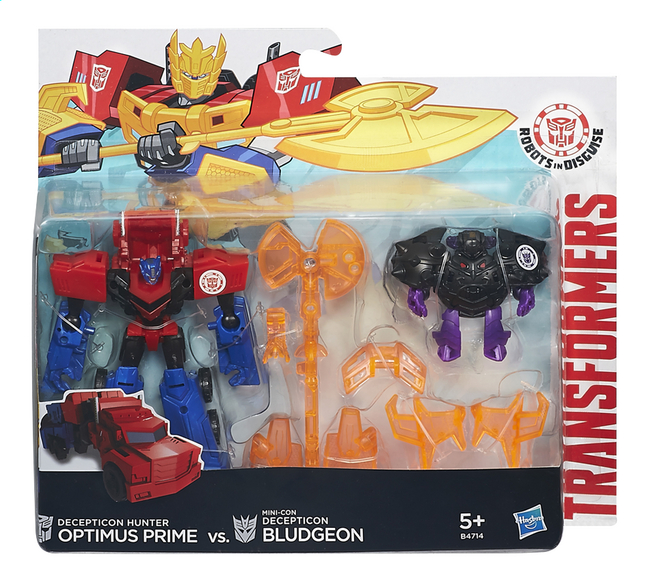 Afbeelding van Set Transformers Robots in Disguise Decepticon Hunter Optimus Prime vs. Mini-Con Decepticon Bludgeon from DreamLand