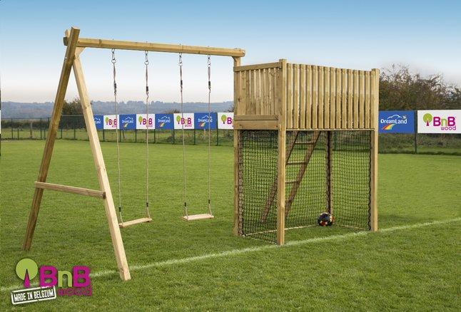 Afbeelding van BnB Wood schommel met speeltoren Goal België zonder glijbaan from DreamLand