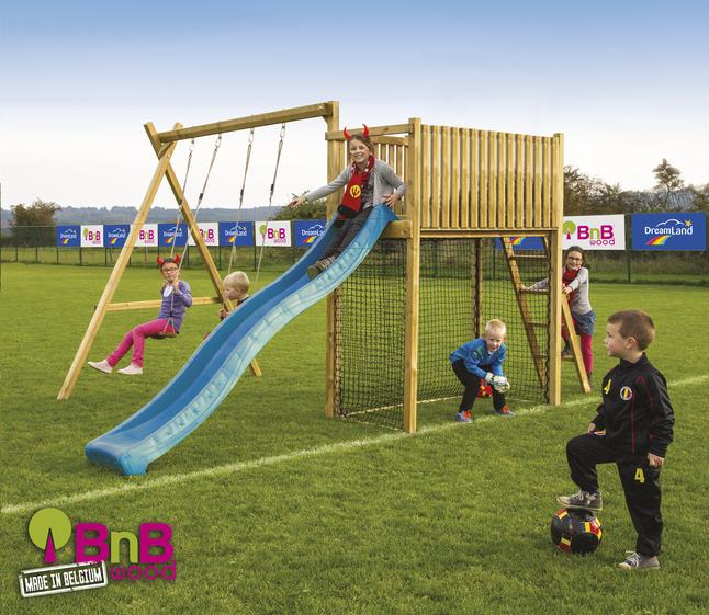 Afbeelding van BnB Wood schommel met speeltoren Goal met blauwe glijbaan from DreamLand
